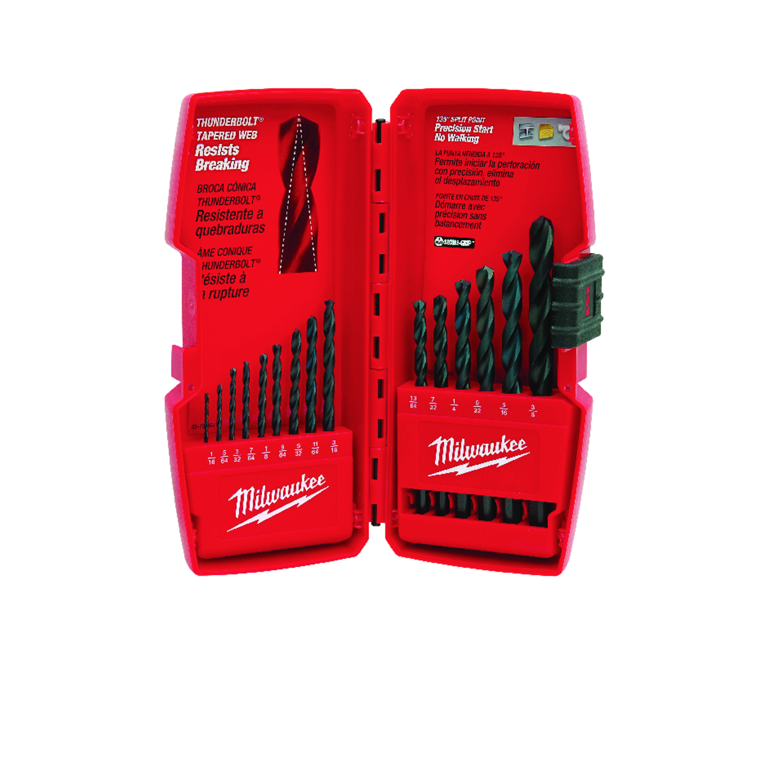 Milwaukee  THUNDERBOLT  Assorted in. Dia. Black Oxide  Drill Bit  15 pc. 3-Flat Shank  3/8 in.