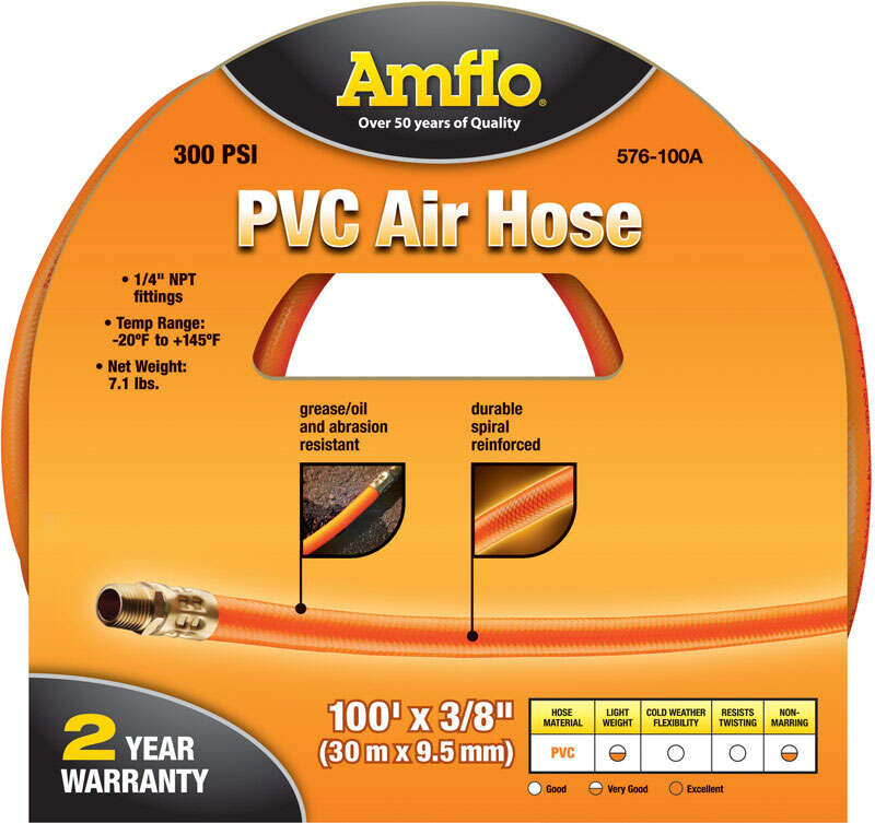Amflo  100 ft. L x 1/4 in.  Air Hose  Polyvinyl  300 psi Orange