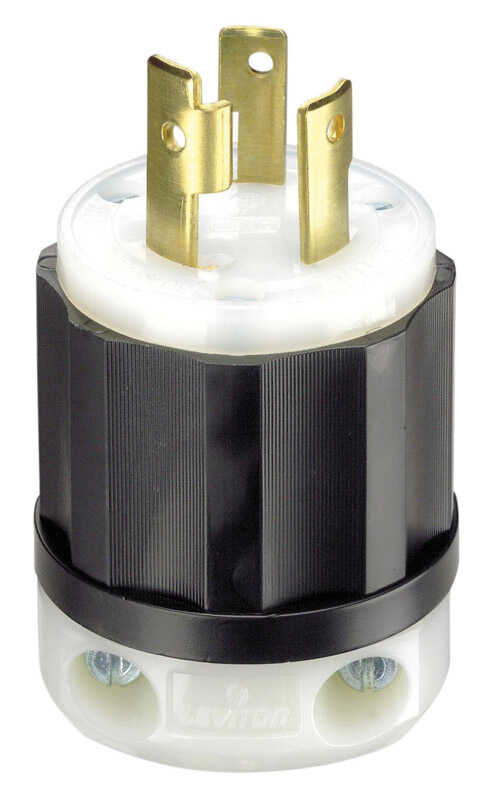 Leviton  Industrial  Nylon  Grounding  Plug  L6-30P  2 Pole 3 Wire