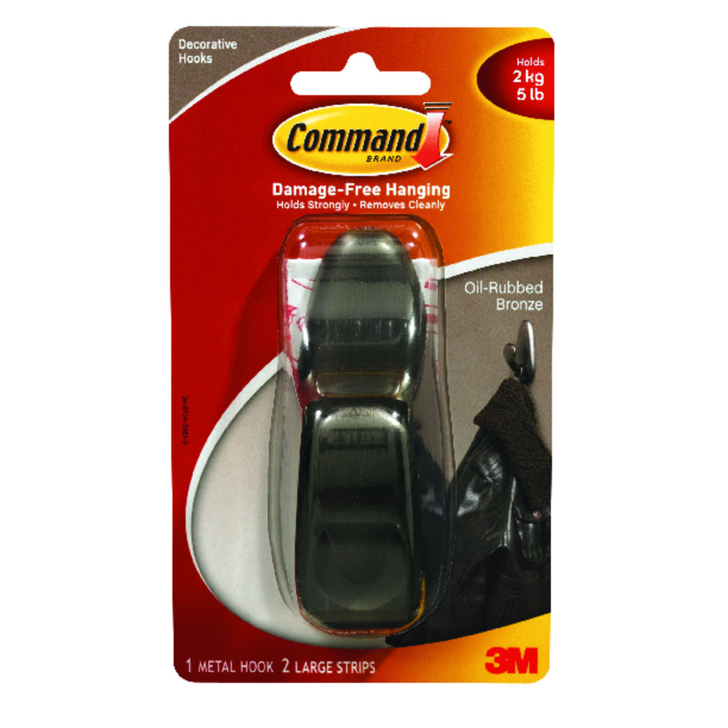 3M  Command  Oil Rubbed Bronze  4-1/8 in. L Large  Metal  Forever Classic  5 lb. 1 pk Coat/Hat Hook