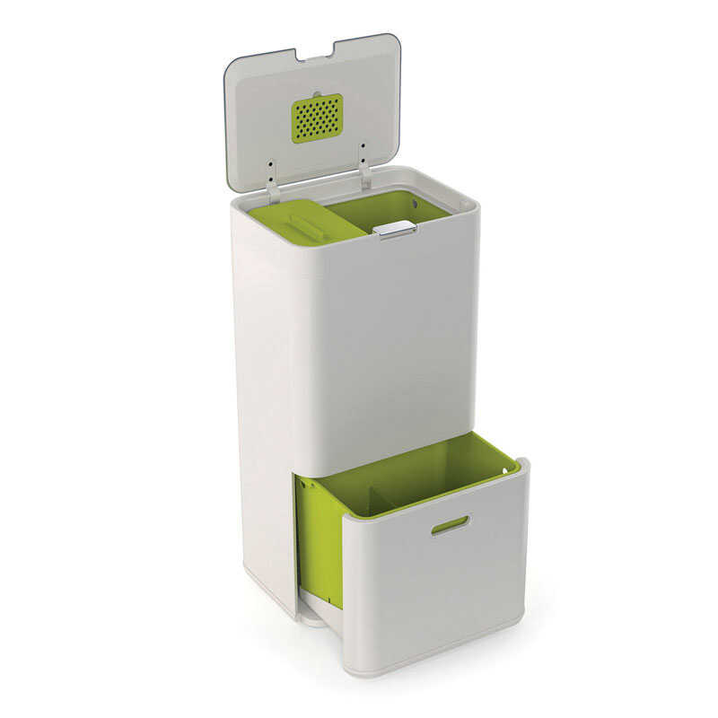 Joseph Joseph  Totem  60 gal. Steel  Garbage and Recycle Unit  Lid Included Animal Proof/Animal Resi