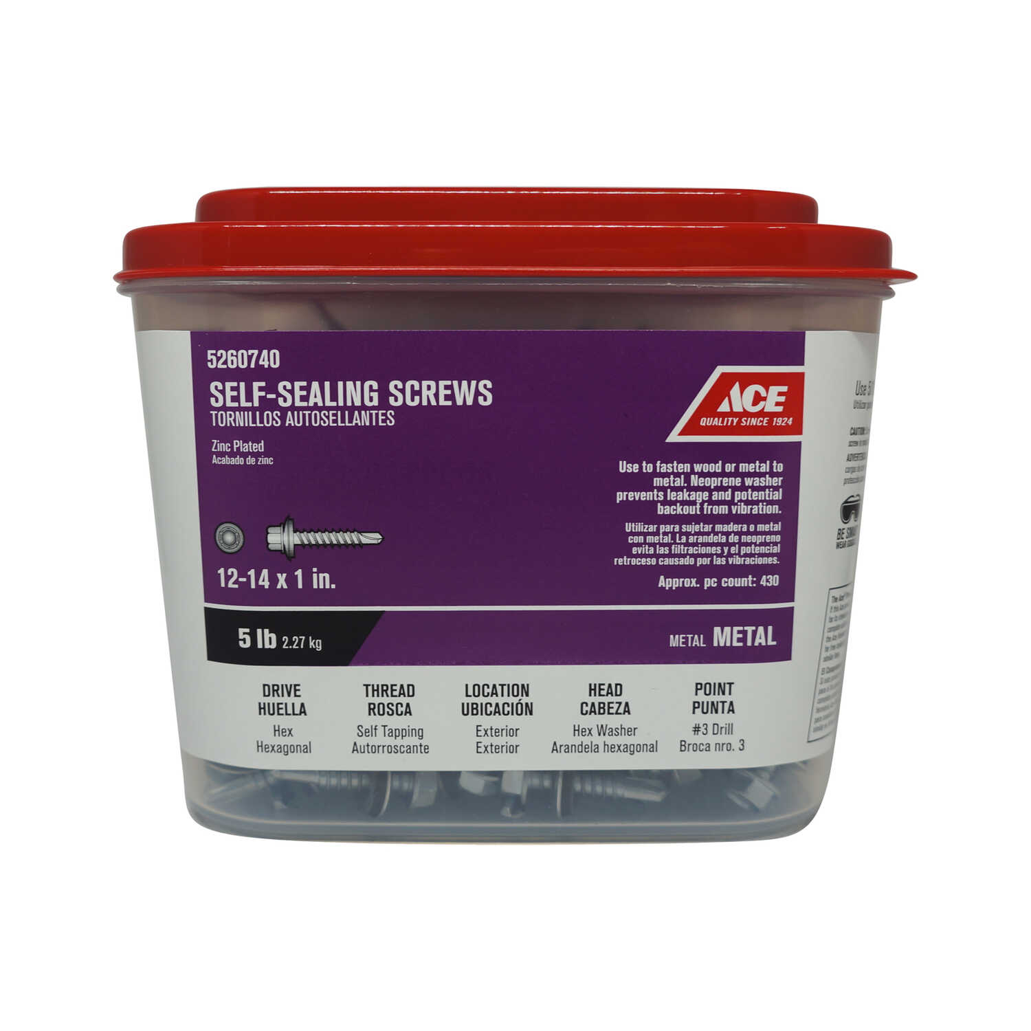Ace  12-14 Sizes  x 1 in. L Hex Washer Head Zinc-Plated  Steel  Self-Sealing Screws  5 lb.