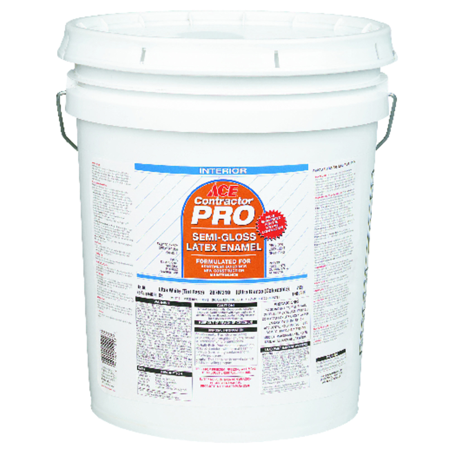 Ace  Contractor Pro  Semi-Gloss  Ultra White Base  Latex  Paint  5 gal. Ultra White