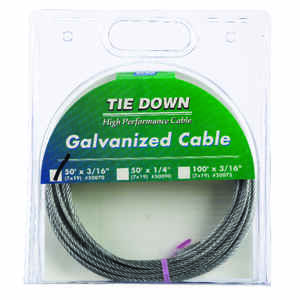 Tie Down Engineering  Galvanized  Galvanized Steel  3/16 in. Dia. x 50 ft. L Aircraft Cable