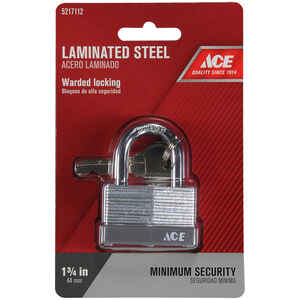 Ace  1-1/16 in. H x 1-3/4 in. W x 1 in. L Laminated Steel  Warded Locking  Padlock  1 pk