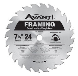 Freud  Avanti  7-1/4 in. Dia. x 5/8 in.  Carbide Tip Steel  Framing Blade  24 teeth 1 pc.