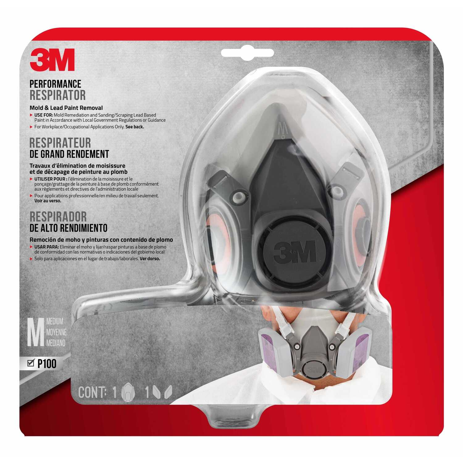 3M  P100  Sanding and Lead Paint Removal  Half Face Respirator  Gray  1 pc.