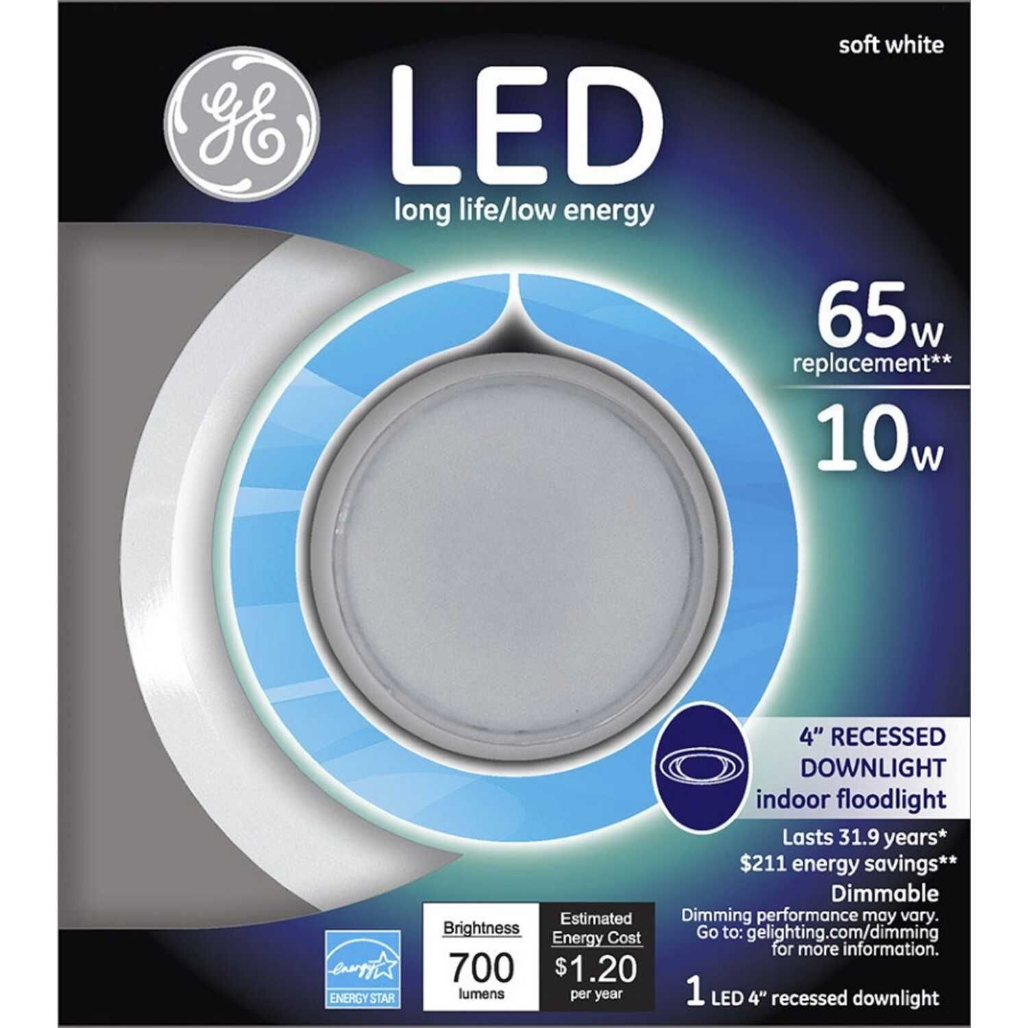 GE  Matte  Soft White  4 in. W LED  Recessed Downlight  10 watts