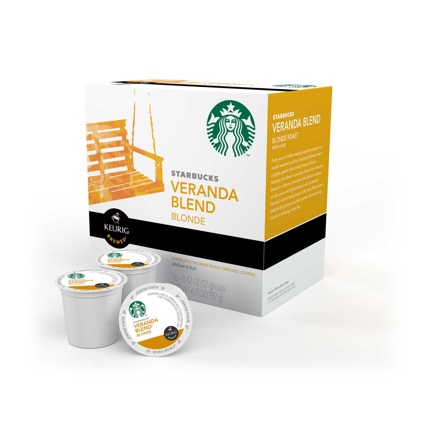 Keurig  Starbucks  Veranda Blend Blonde  Coffee K-Cups  16 pk