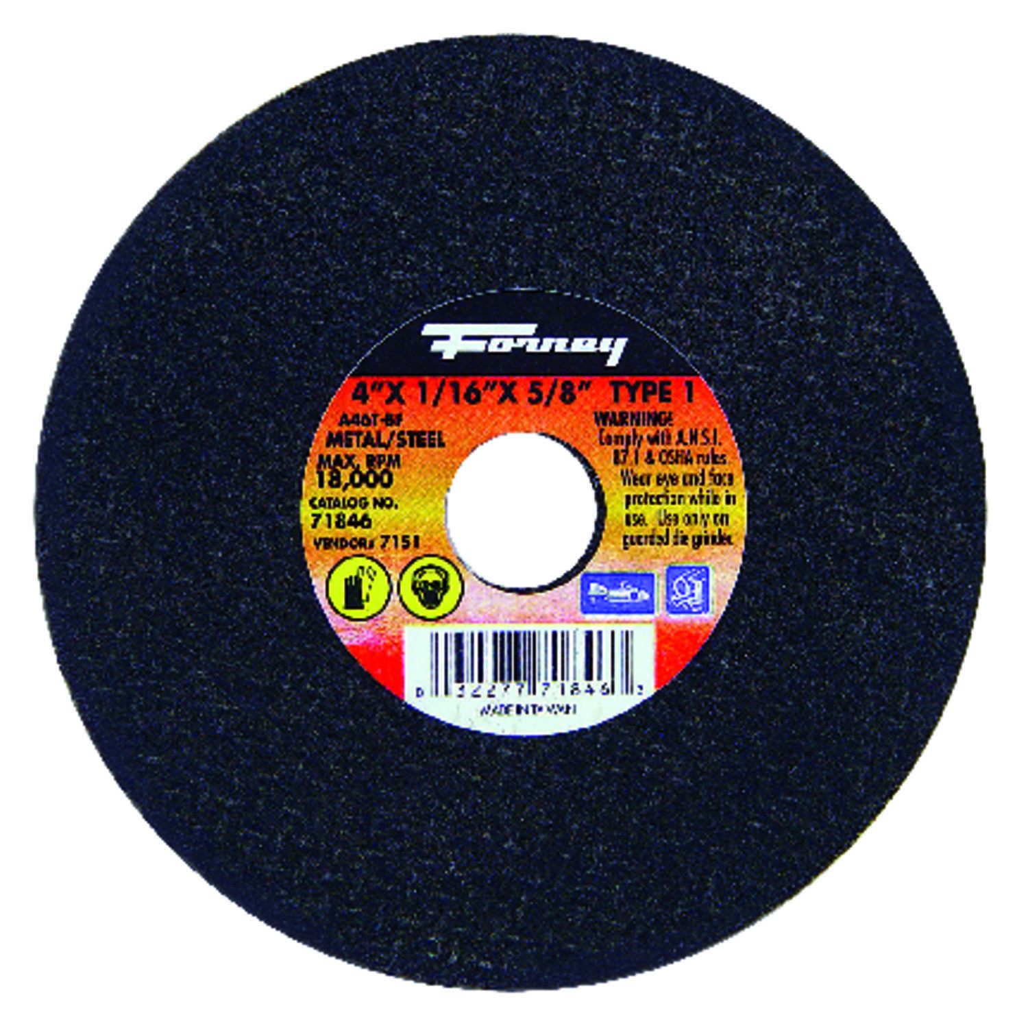 Forney  4 in. Aluminum Oxide  Metal Cut-Off Wheel  1/16 in. thick  x 5/8 in.  1 pc.