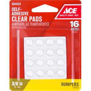 Ace  Vinyl  Self Adhesive Protective Pads  Clear  Round  3/8 in. W 16 pk