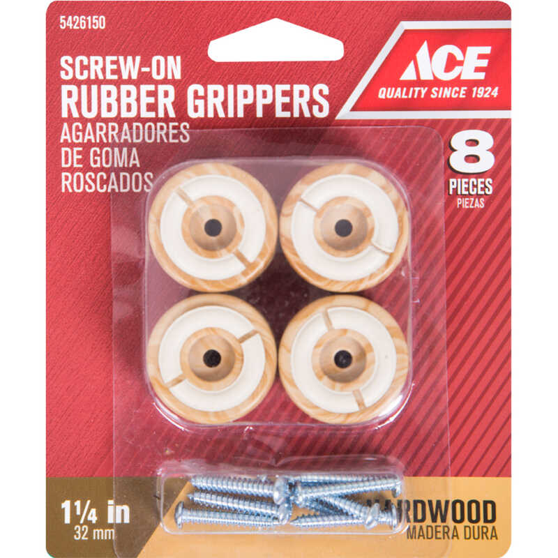 Ace  Rubber  Non-Slip Cup for Hardwood Floors  Round  1-1/4 in. W 8 pk Brown