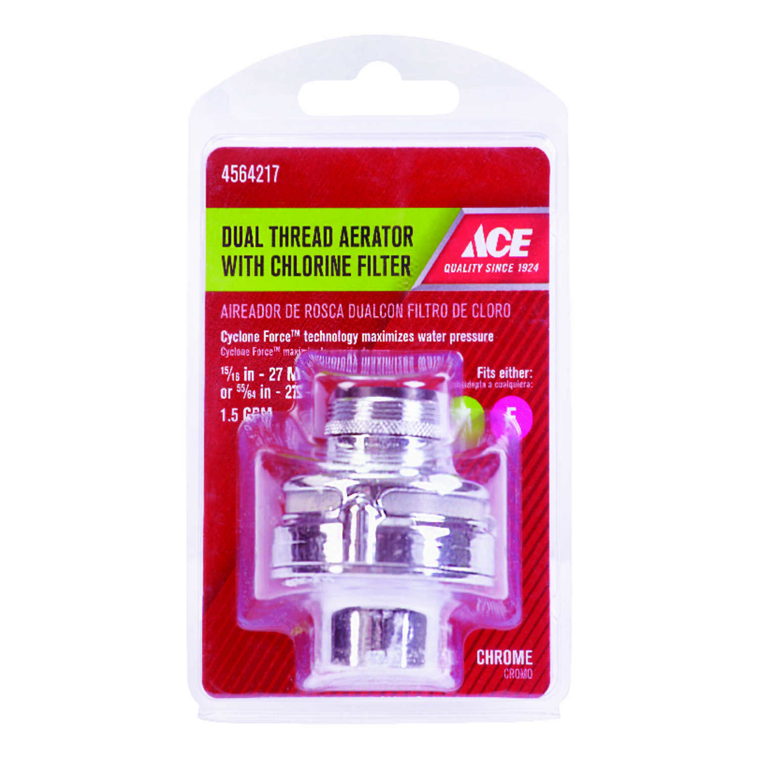 Ace  Chrome  55/64 in.  x 15/16 in.  Chlorine Filter Dual Thread Aerator  1 pack