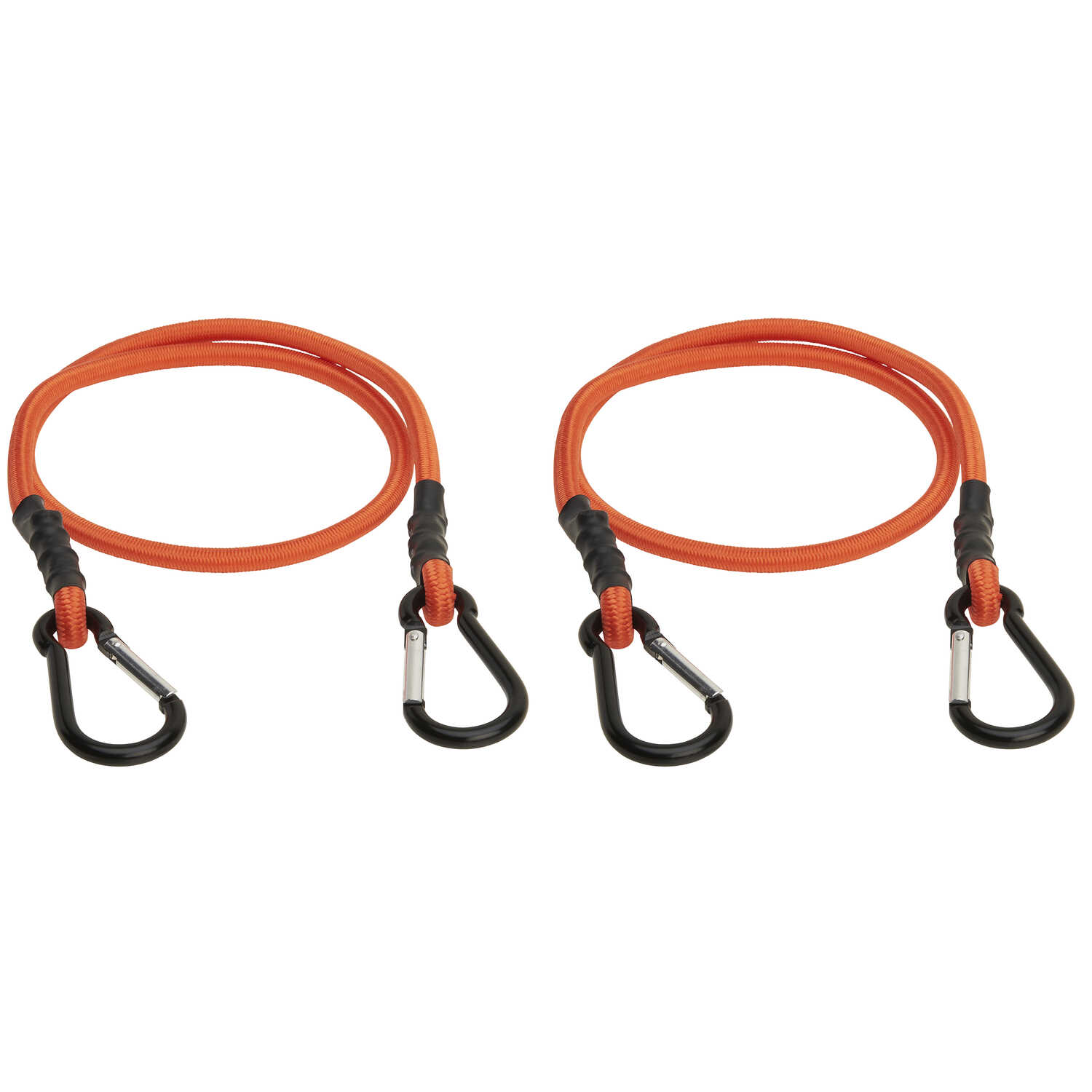 Keeper  Orange  Carabiner Style Bungee Cord  36 in. L x 0.315 in.  2 pk