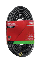Ace  Indoor and Outdoor  100 ft. L Black  Extension Cord  16/3 SJTW