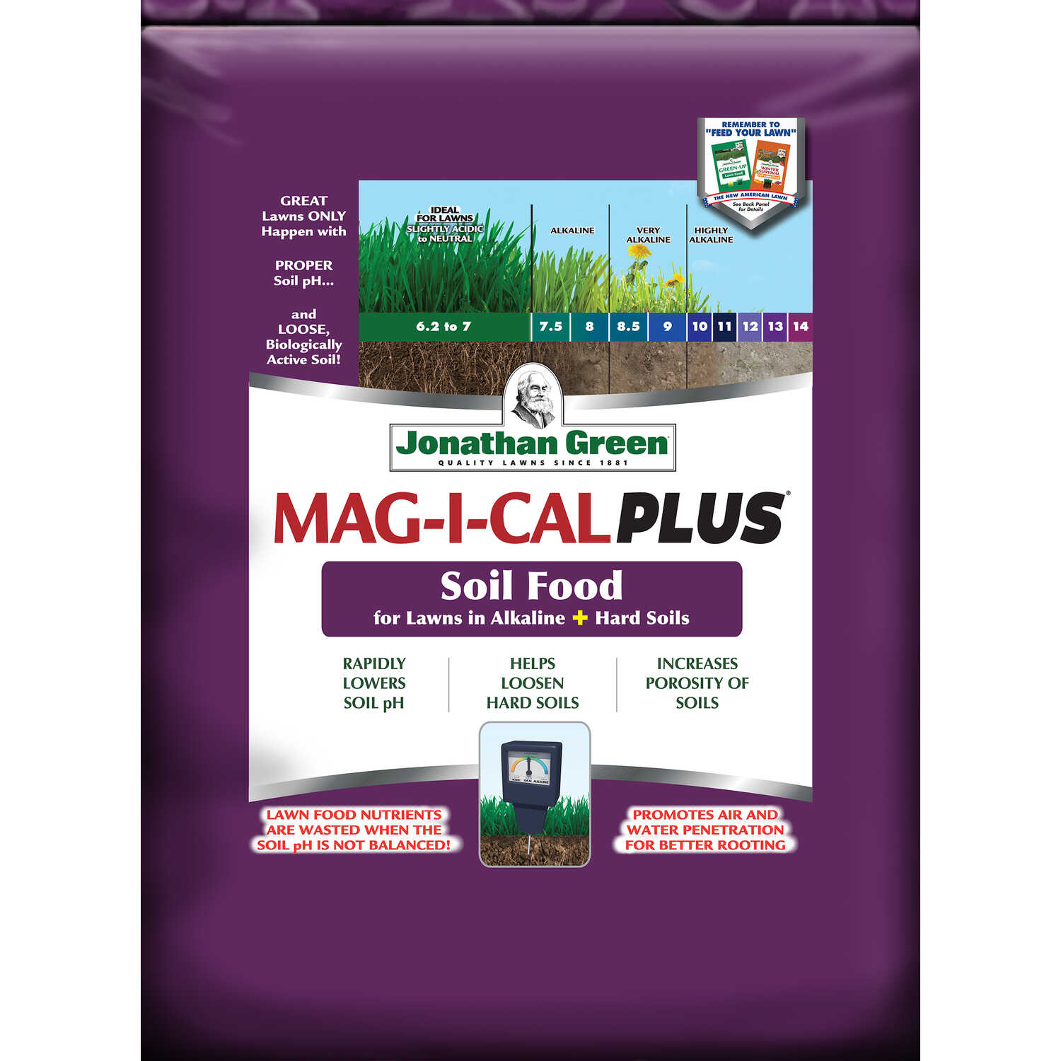 Jonathan Green  Mag-I-Cal Plus for Alkaline Soils  Organic Lawn Fertilizer  For All Grass Types 54 l