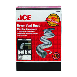 Ace 60 in. L x 4 in. Dia. Silver Aluminum Dryer Vent Duct