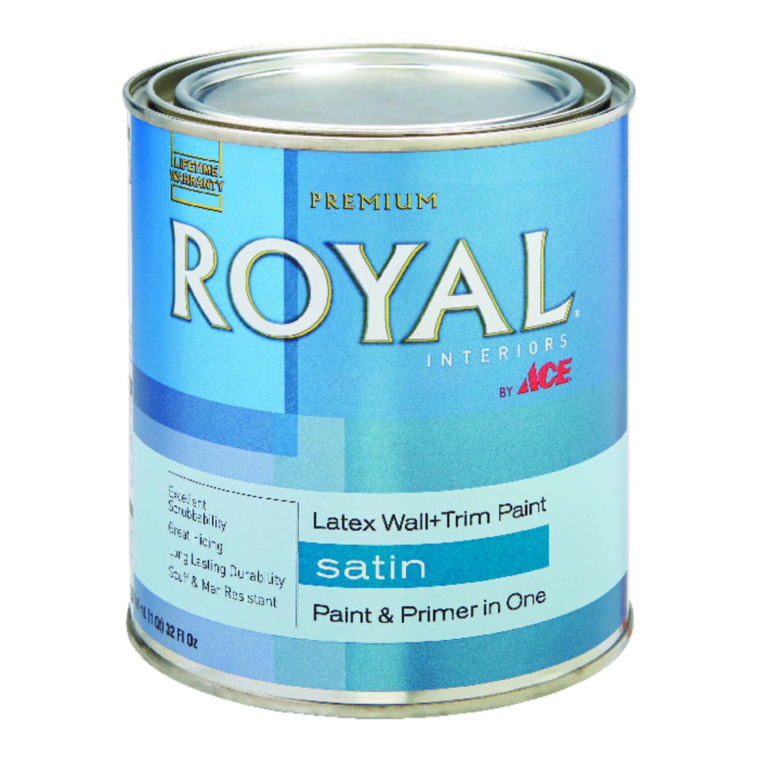 Ace  Royal  Satin  Ultra White  Vinyl Acetate/Ethylene  Interior Latex Wall+Trim Paint  Indoor  1 qt