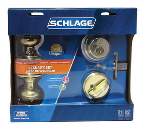 Schlage  Plymouth  Bright Brass  Knob and Double Cylinder Deadbolt  ANSI Grade 2  1-3/4 in.