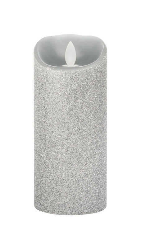 Iflicker  Silver  Pillar  Candle  7 in. H x 3 in. Dia.