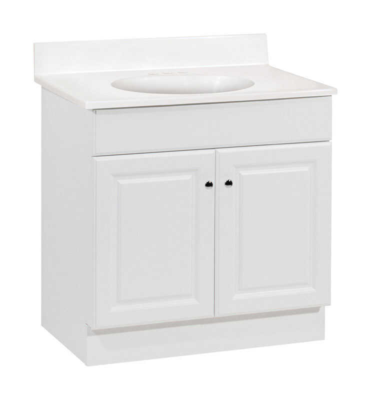 Continental Cabinets  Single  Bright  White  Vanity Combo  30 in. W x 18 in. D x 32 in. H