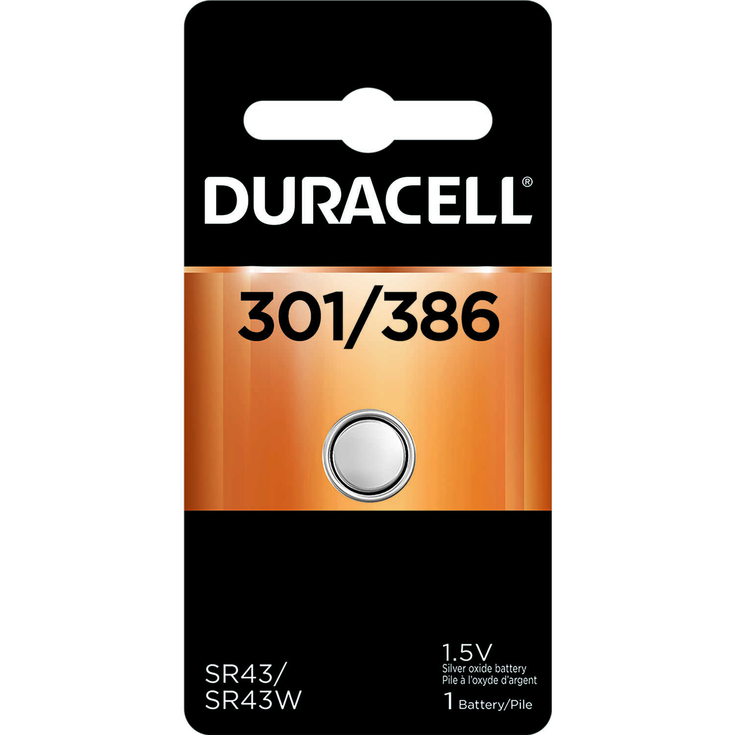 Duracell  Silver Oxide  1.5 volt 1 pk Electronic/Watch Battery  301/386