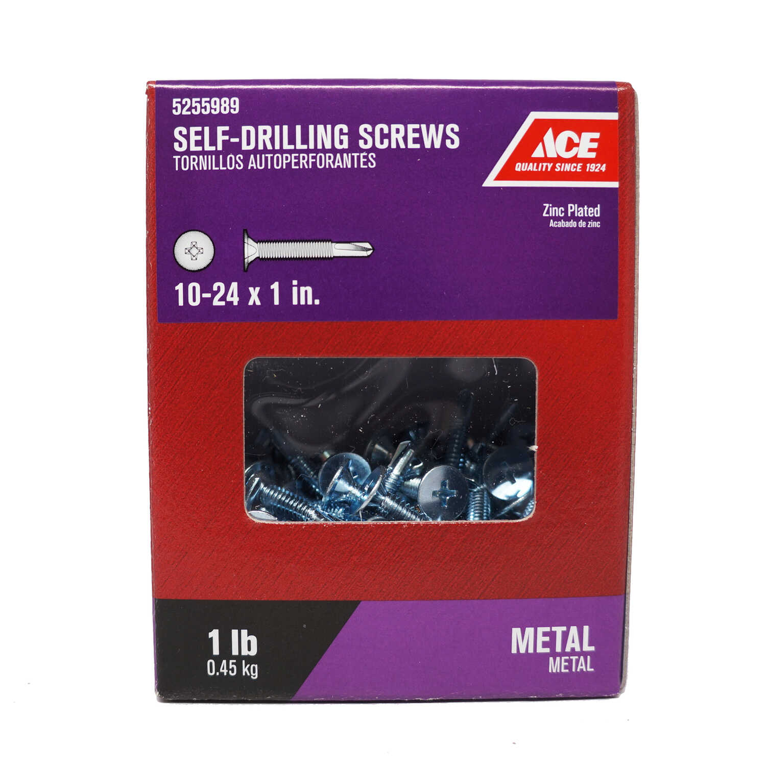 Ace  10-24 Sizes  x 1 in. L Phillips  Zinc-Plated  Wafer Head 1 lb. Steel  Self- Drilling Screws