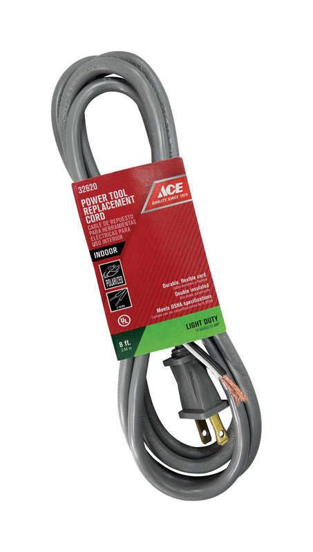 Ace  125 volt 8 ft. L Appliance Cord  16/2 SJTW