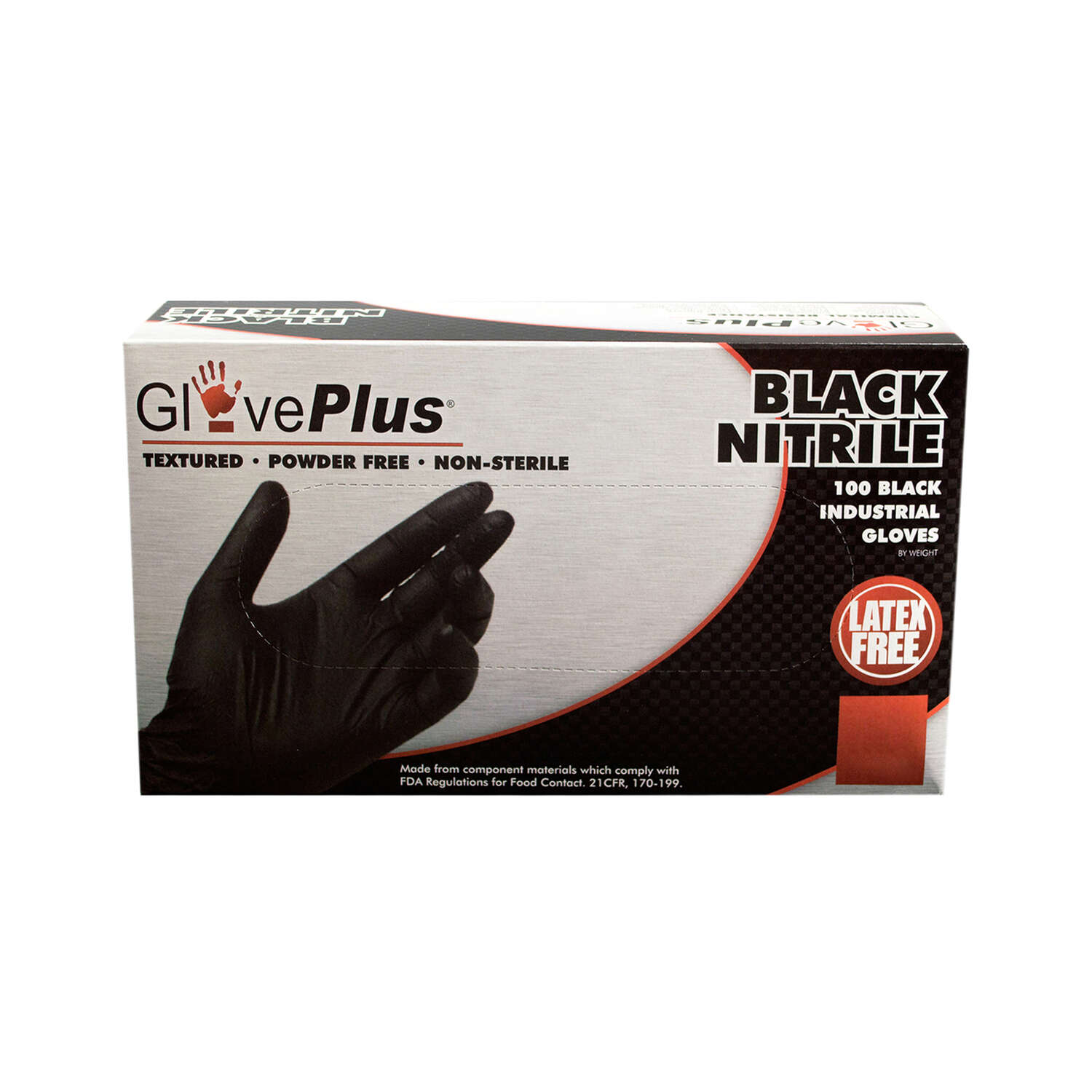 GlovePlus  Nitrile  Disposable Gloves  XL  Black  100 pk