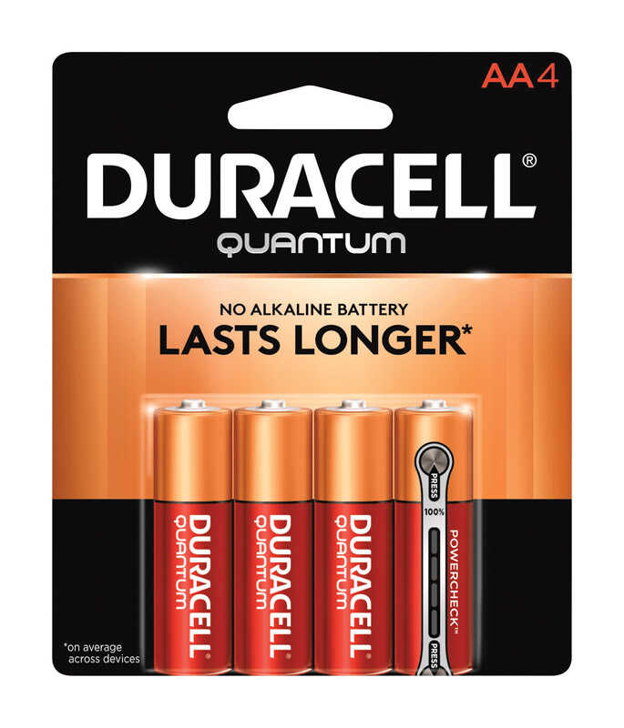 Duracell  Quantum  AA  Alkaline  Batteries  1.5 volts Carded  4 pk