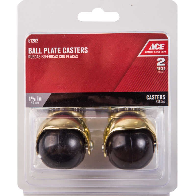 Ace  1-5/8 in. Dia. Swivel Hooded Ball Caster with Plate  75 lb. 2 pk