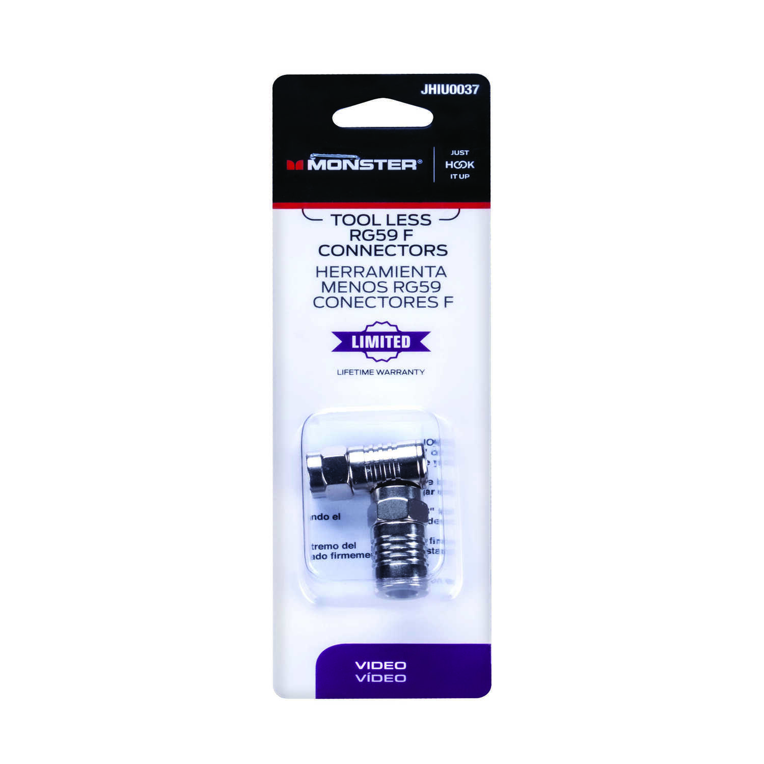Monster Cable  Just Hook It Up  Cable  RG59  Coaxial Connector  2 pk