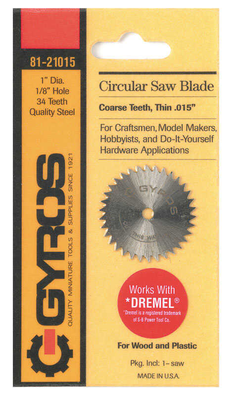 Gyros Tools  1 in.  Steel  Circular Power Saw Blades  Circular Saw Blade  1/8 in. 0.015 in.  34 teet