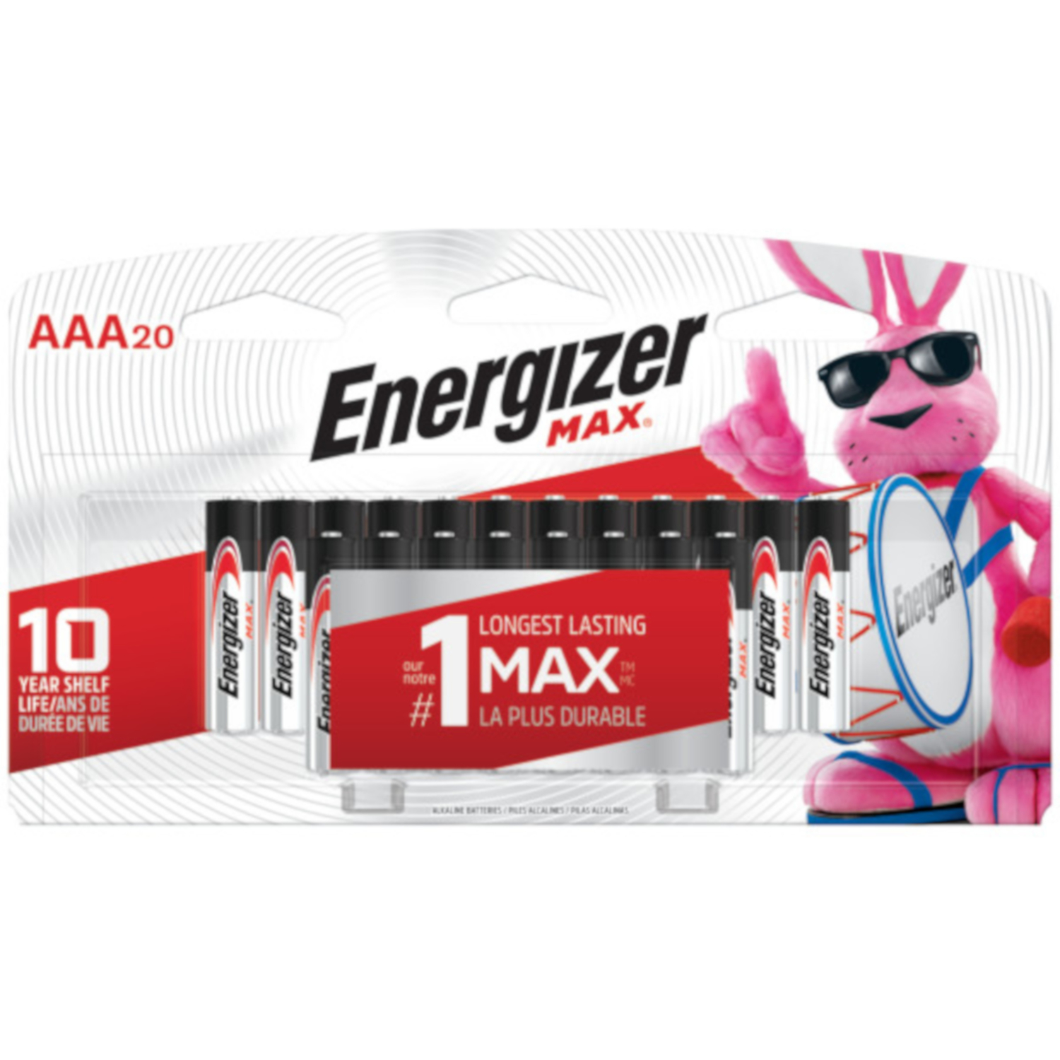 Energizer  MAX  AAA  Alkaline  Batteries  1.5 volts 20 pk Carded