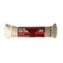 Ace  1/4 in. Dia. x 50 ft. L White  Solid Braided  Cotton  Cord