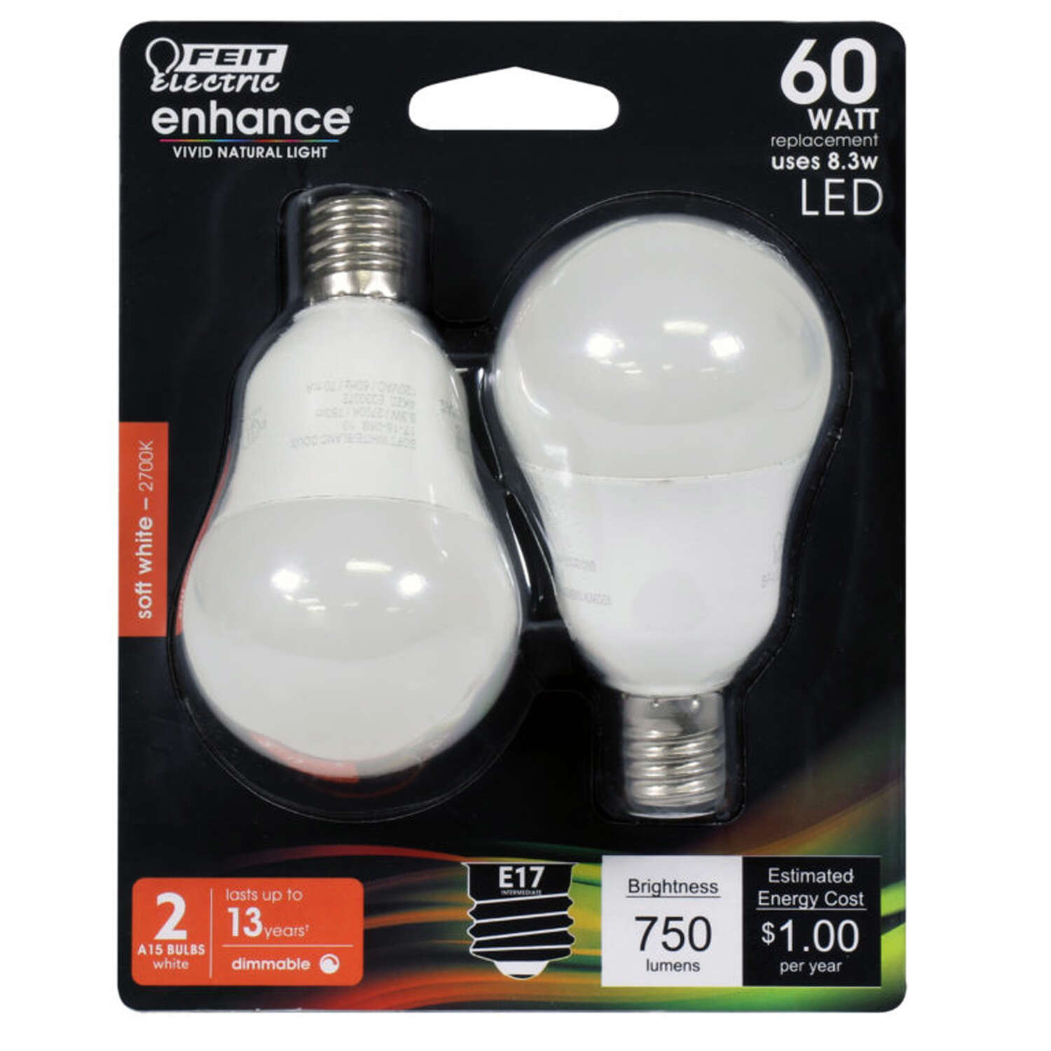 Feit Electric Enhance A15 E17 (Intermediate) LED Bulb Soft White 60 Watt Equivalence 2 pk