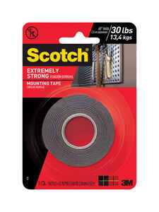 Scotch  1 in. W x 60 in. L Mounting Tape  Black