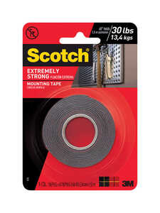 Scotch  1 in. W x 60 in. L x 60 in. L x 1 in. W Mounting Tape  Black