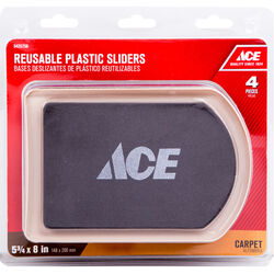 Ace Brown Plastic Rectangle 4 pk 8-1/4 in. L x 5-3/4 in. W Slide Glide