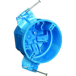 Carlon  4 in. Round  Thermoplastic  1 gang Electrical Box  Blue