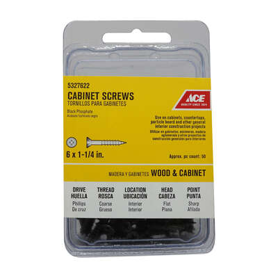 Ace  No. 6   x 1-1/4 in. L Phillips  Black Phosphate  Cabinet Screws  50 pk
