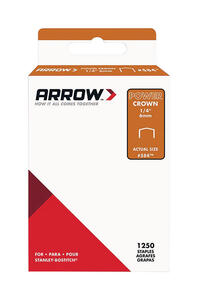 Arrow Fastener  1/4 in. L x 3/8 in. W Galvanized Steel  Flat Crown  Standard Staples  18 Ga. 1250 pk