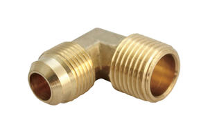 JMF  1/4 in. Flare   x 1/4 in. Dia. MPT  Yellow Brass  Elbow