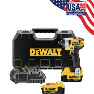 DeWalt  20 volts 1/4 in. Cordless  Hex  Impact Driver  Kit 2800 rpm 3200 ipm 1400 ft./lbs.