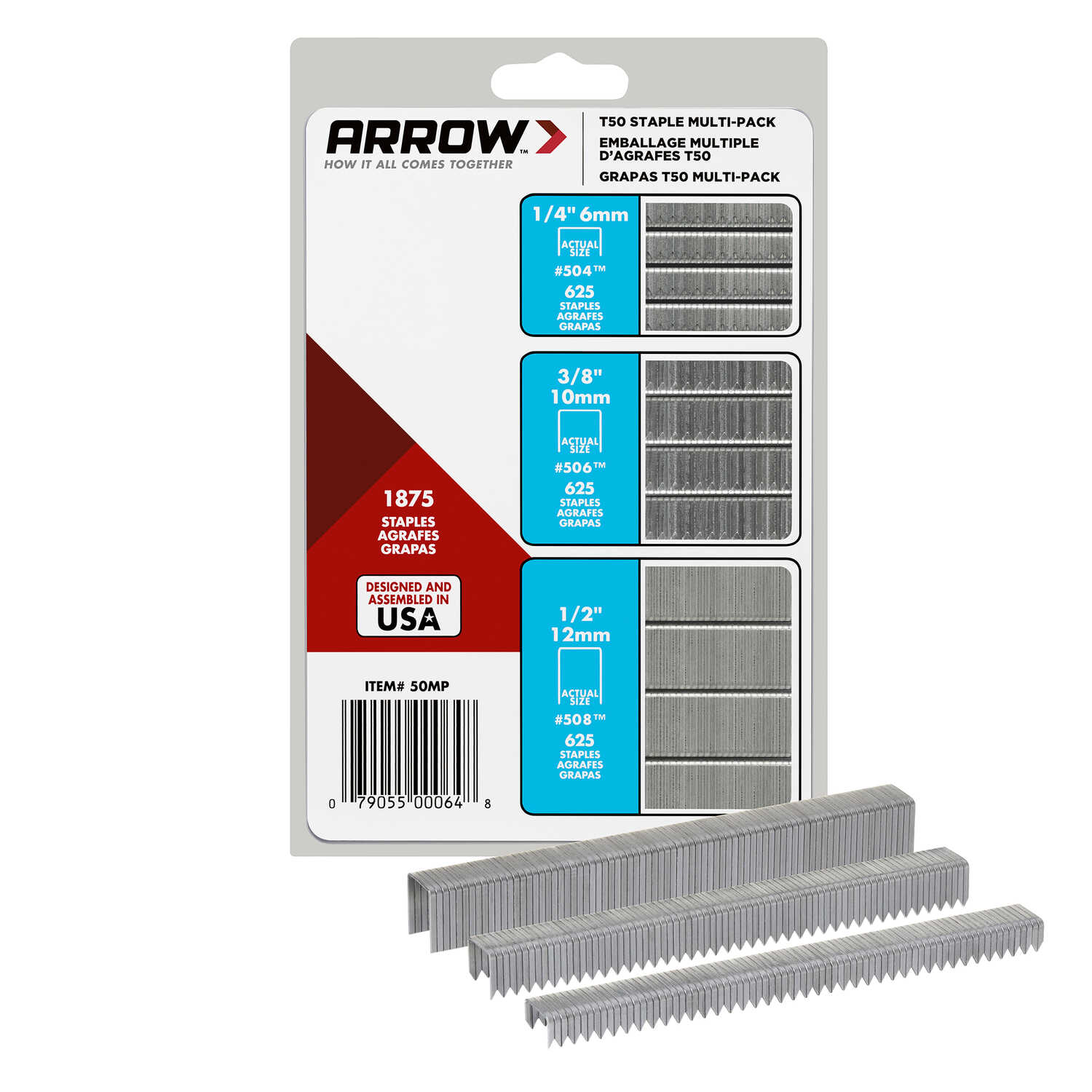 Arrow Fastener  Assorted in. L x 3/8 in. W Galvanized Steel  Flat Crown  Heavy Duty Staple Assortmen
