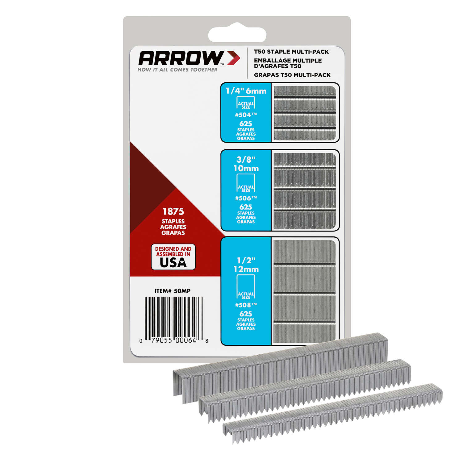 Arrow Fastener  T50  3/8 in. W 18 Ga. Flat Crown  Heavy Duty Staple Assortment  1875 pk