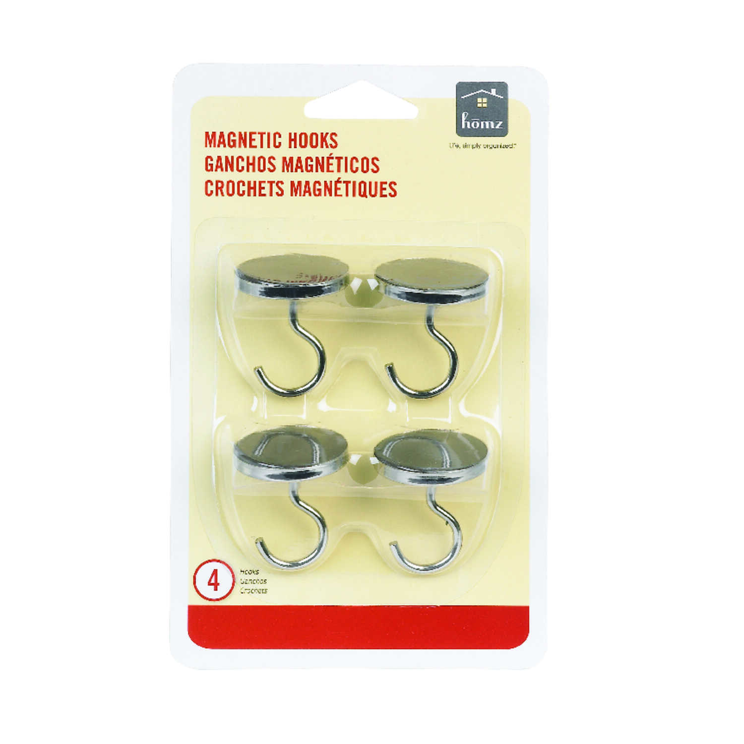 Homz  chrome  Chrome  Medium  Magnetic Hooks  1 lb. 4 pk