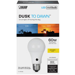 Feit Electric  Intellibulb  A19  E26 (Medium)  LED Dusk to Dawn Bulb  Natural Light  60 Watt Equival