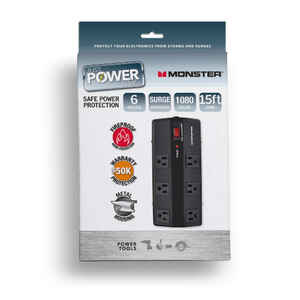 Monster  Just Power It Up  1080 J 15 ft. L 6 outlets Surge Protector