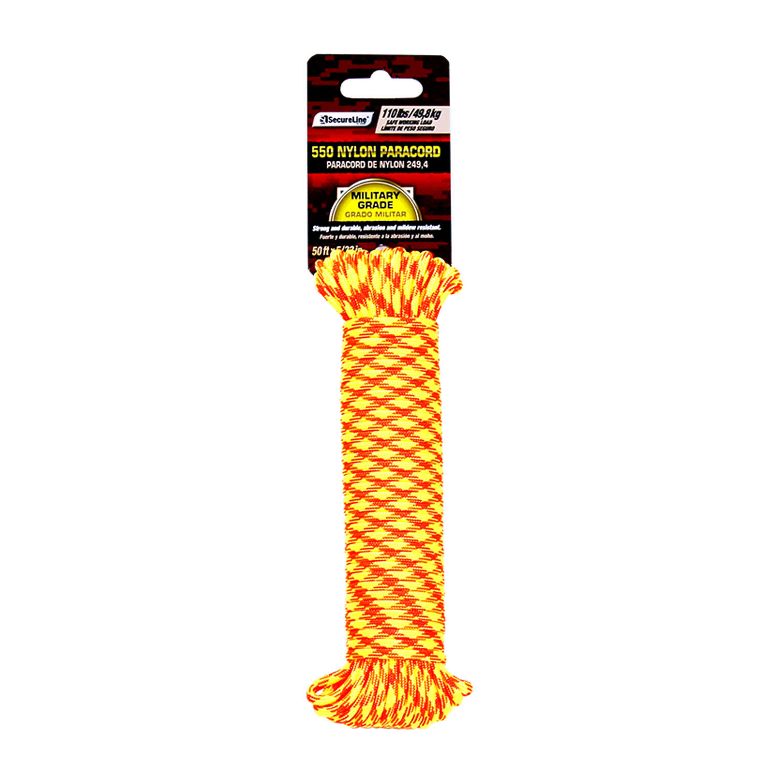 SecureLine  5/32 in. Dia. x 50 ft. L Orange/Yellow  Braided  Nylon  Paracord